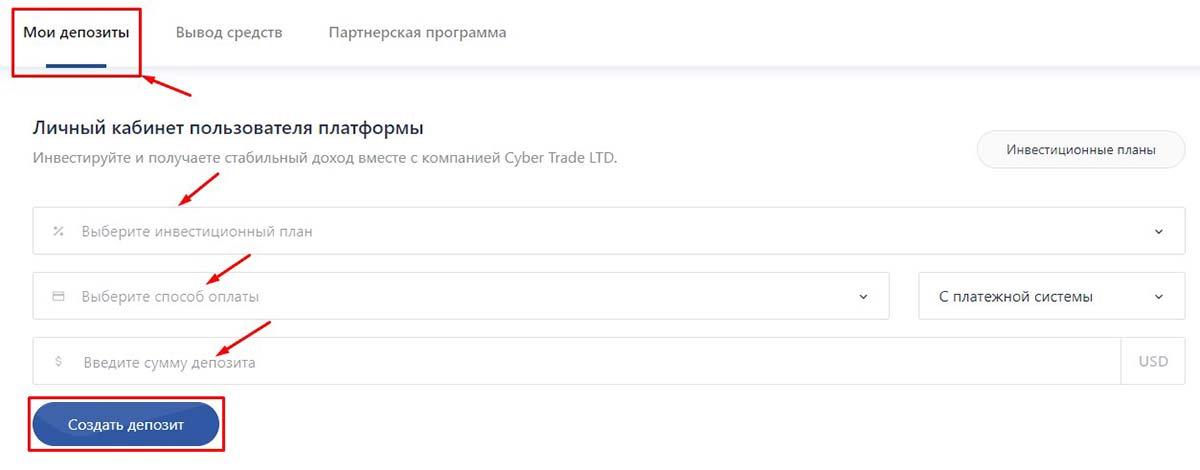 Регистрация в Cyber Trade 3
