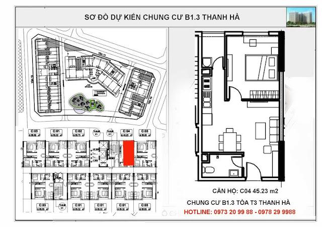 Sơ đồ căn hộ số C04 chung cư T3 Thanh Hà