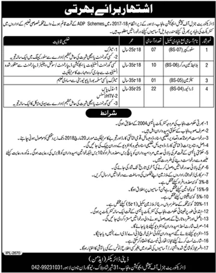 Jobs In Special Education Department Lahore 2018 for 40 Vacancies