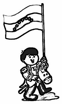 dibujos colorear de Simn Bolivar nio con bandera