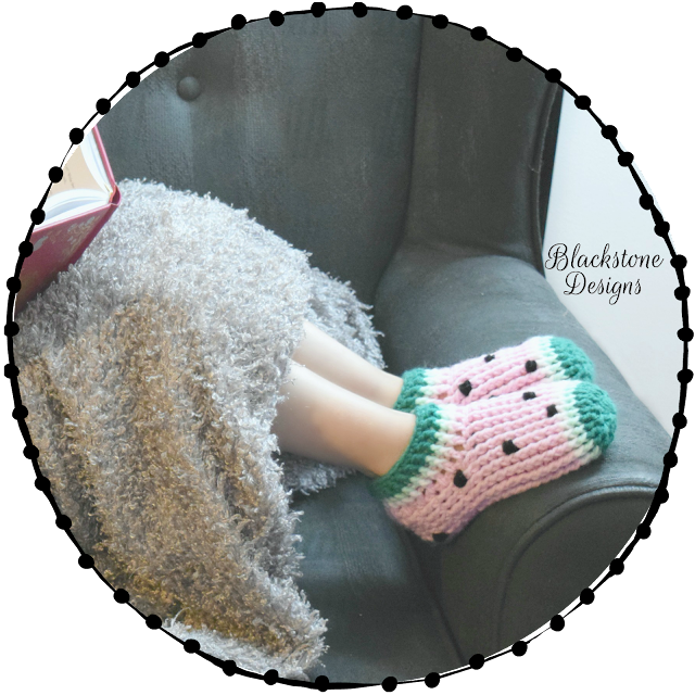 Post stitch crochet slippers Watermelons