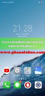 Cara menampilkan persentase baterai Realme 2