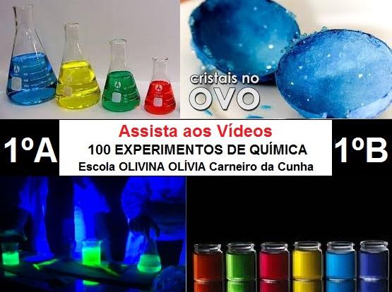 Experimentos de Química dos alunos (1º A e B) da Escola Olivina Olívia Carneiro da Cunha