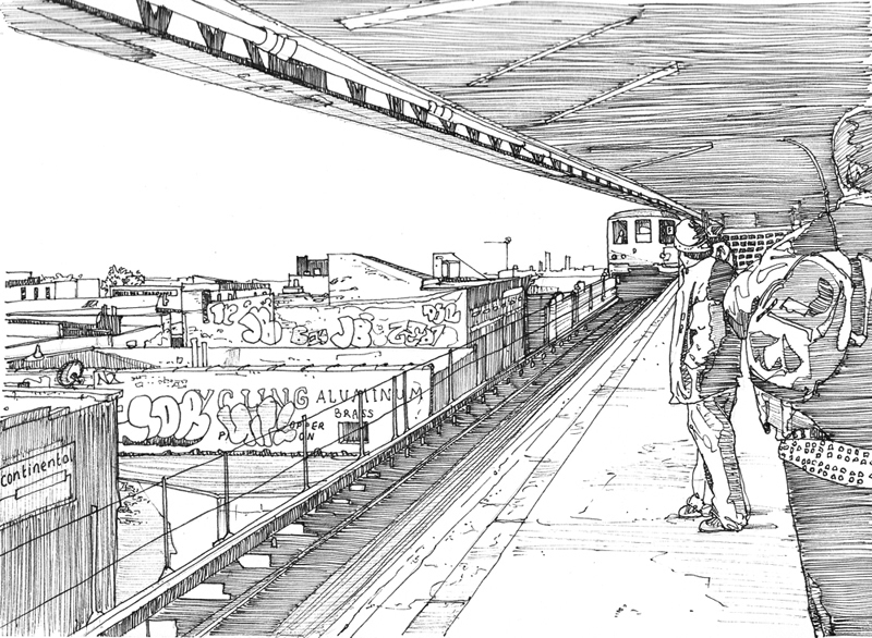06-Coney-Island-Subway-New-York-Tom-Hopkinson-Drawings-of-our-Lives-Depicted-in-Urban-Sketches-www-designstack-co