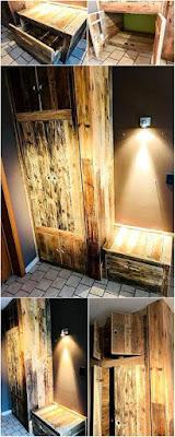 ropero armario hecho con palets de madera desarmados