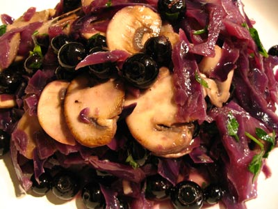 Red Cabbage with Mushrooms and Blueberries
