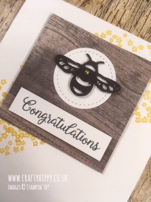 Handmade bee card with a wood textured background and Crushed Curry yellow flowers made with the Detailed Dragonfly Thinlits Dies by Stampin' Up!