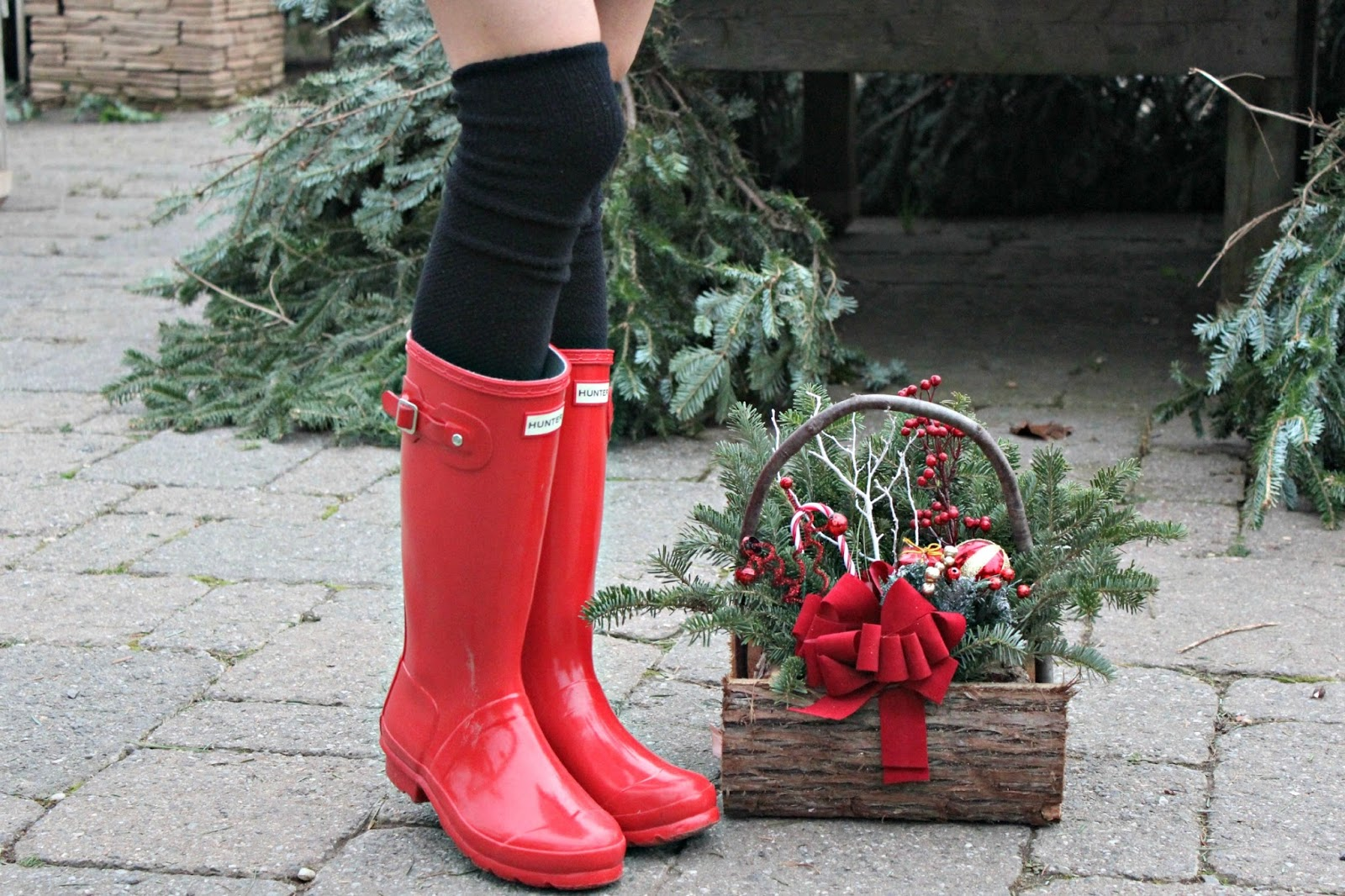 red hunter boots