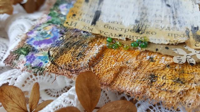 ботанический мини-альбом, с сухоцветами, микс-медиа