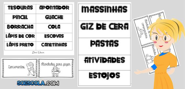 Etiquetas organizadoras sala de aula