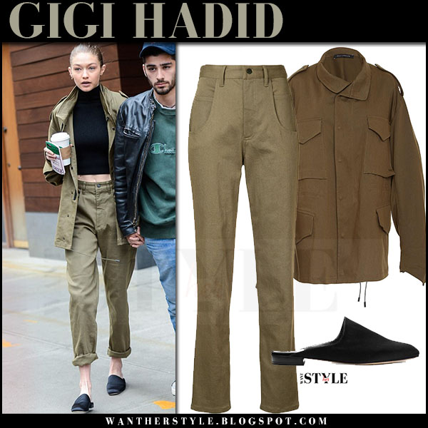 Gigi Hadid in khaki green canvas jacket and cargo pants sally lapointe what she wore april 2017