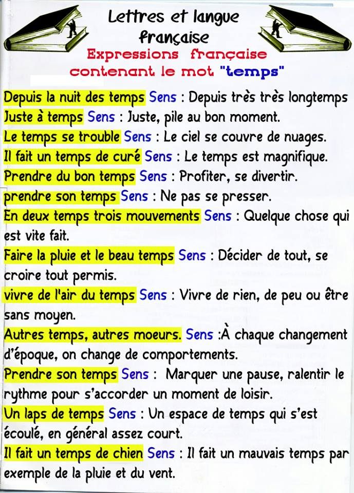 """Expressions françaises contenant le mot """"Temps"""""""