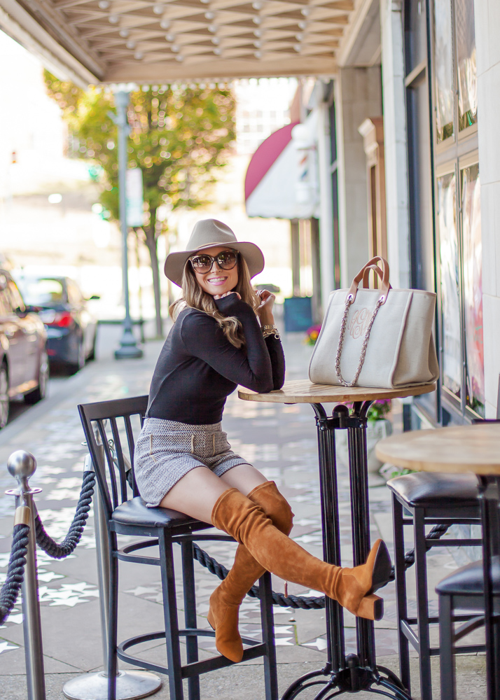 goodnight macaroon marlo tan suede over the knee leather boots