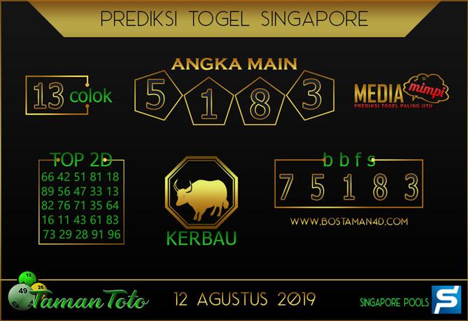 Prediksi Togel SINGAPORE TAMAN TOTO 12 AGUSTUS 2019