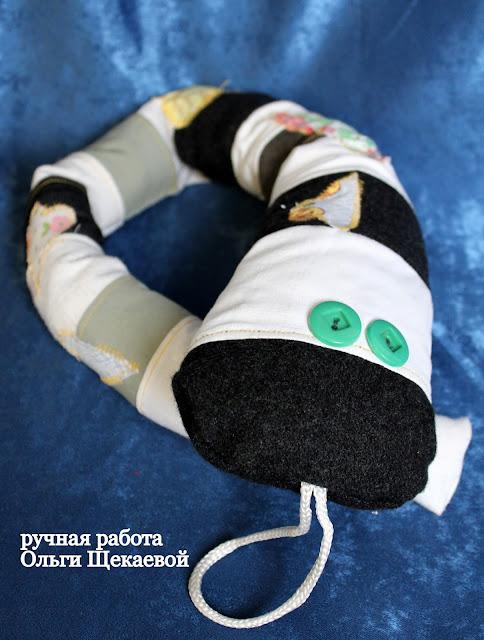 змея, текстильная игрушка, хенд мейд