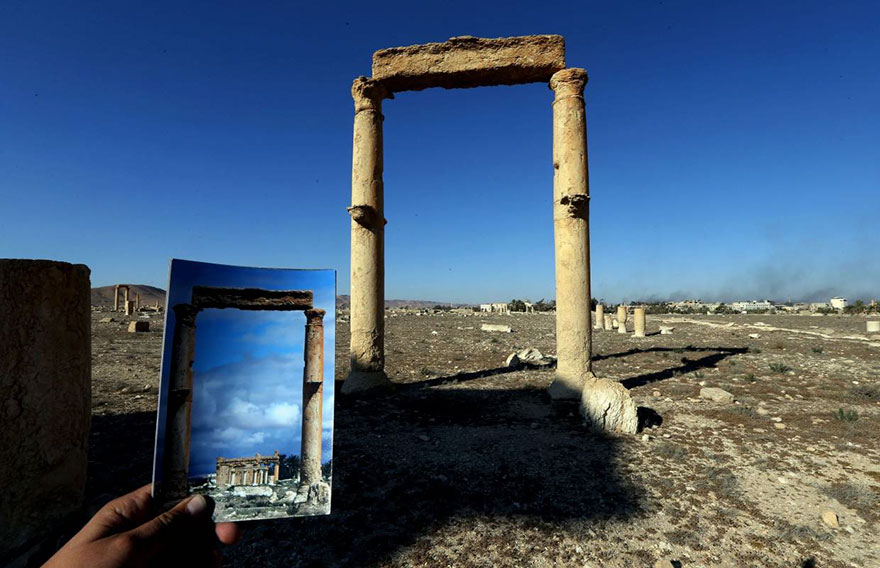 Shocking Pictures Illustrating Syrian Historical Monuments Destroyed By Daesh attacks - The Temple of Baal Shamin seen used to be visible through these two columns