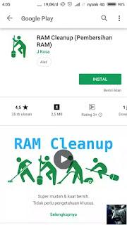 Menambah RAM Android dengan RAM Cleanup