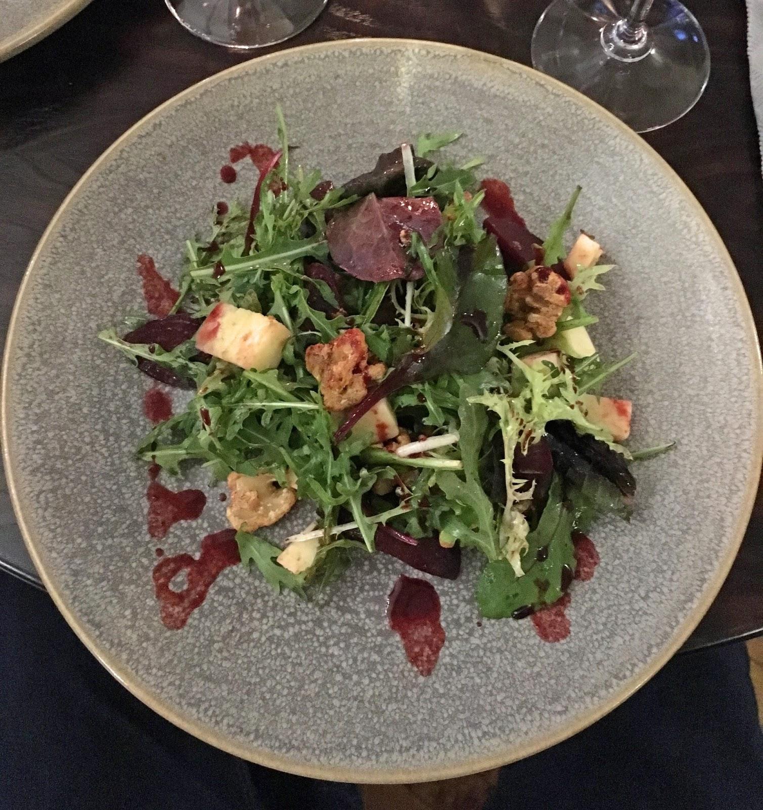 Prime restaurant, Stirk House, Gisburn, beetroot salad starter