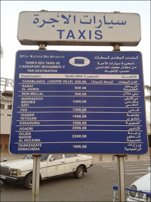 Tarifs Taxis 2015 Aéroport Mohammed V Casablanca