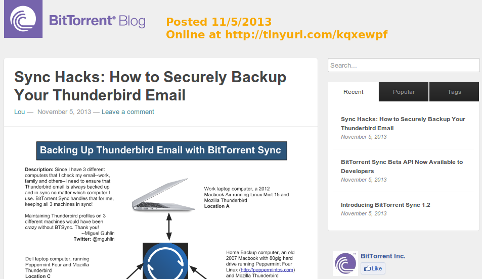 How to Securely Backup Your Thunderbird Email #btsync #synchacks