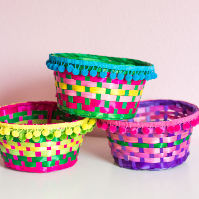 How to make colorful storage containers from Easter baskets!