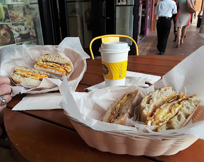 Village Gourmet Cheese Shop in the heart of City Place, West Palm Beach Florida.  Their breakfast sandwiches are fantastic!