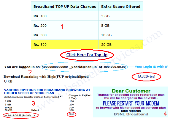 BSNL Broadband Top Up Link Online activation any time