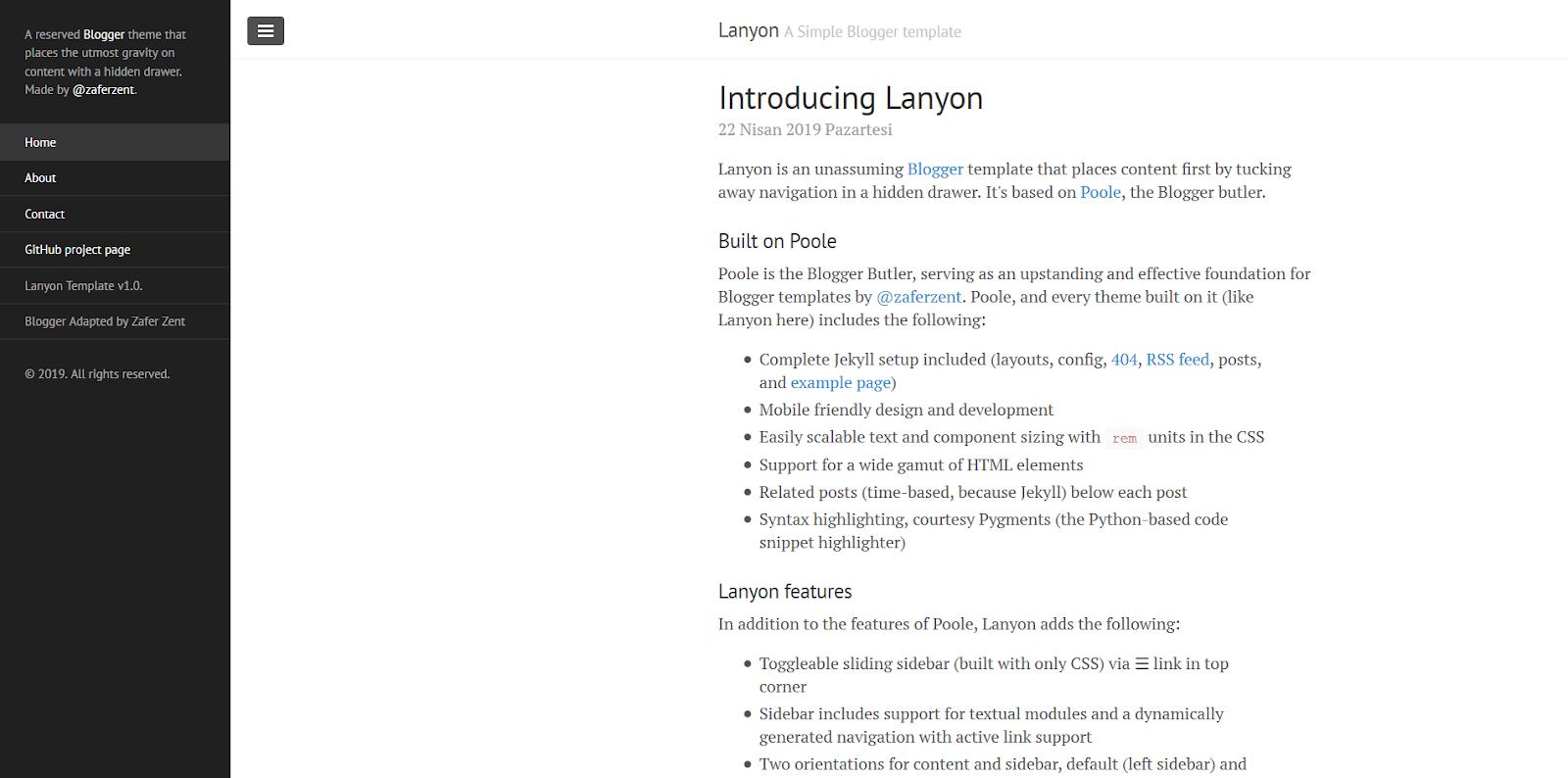 Lanyon Blogger Teması