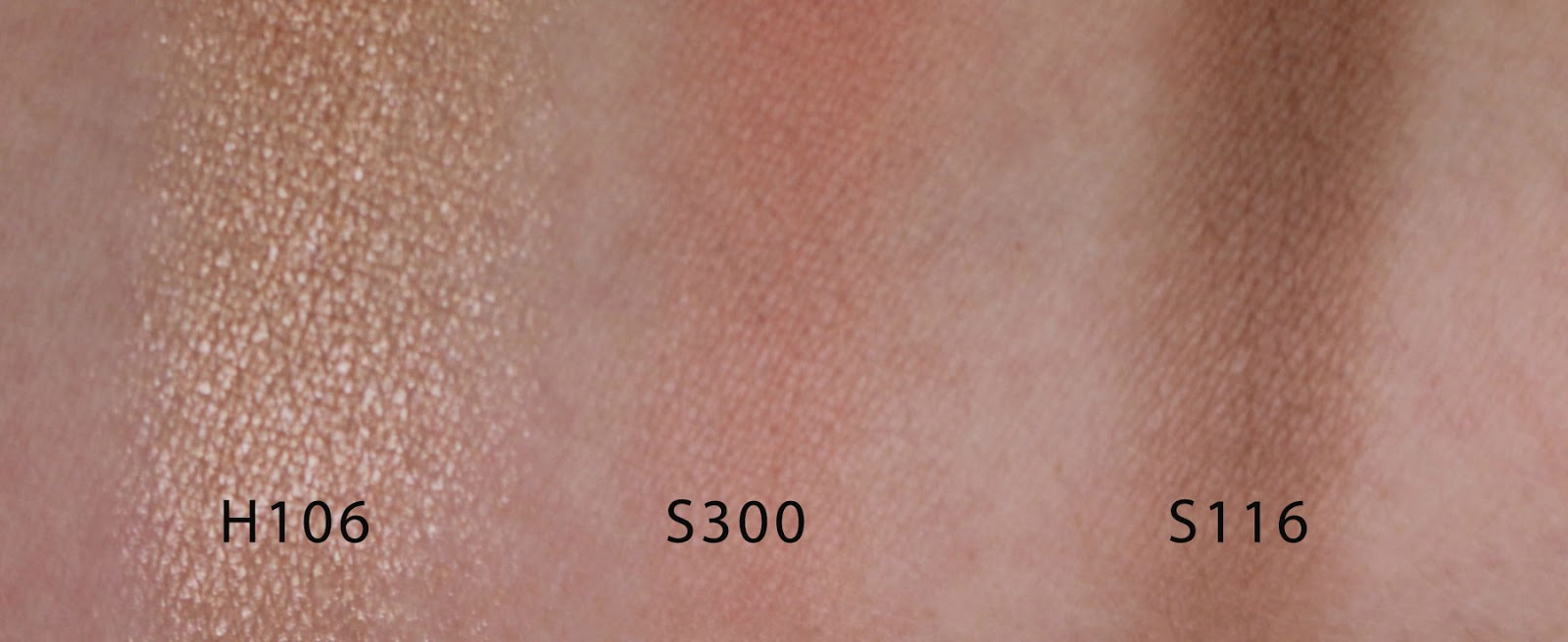make up for ever artist face color H106 S300 S116 swatches