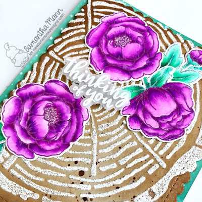 Thinking of You Card by Samantha Mann for Newton's Nook Designs with WOW Embossing Powders, floral, cards, tree rings, stencil, #embossingpowder #floral #cards #newtonsnook #nature