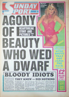 Front page of the Sunday Sport newspaper with photo of Marie Harper glamour model