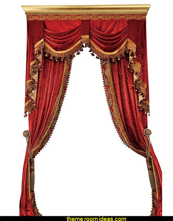 Luxury Velvet Curtains   Moulin Rouge Victorian Boudoir style bedroom decorating ideas - Moulin Rouge style bedroom ideas - boudoir themed decor - Moulin Rouge decor ideas - French boudoir themed bedrooms - boudoir furniture - sexy themed bedroom decorating ideas - feathery lamps - bordello bedrooms - Romantic style bedrooms - French Victorian boudoir
