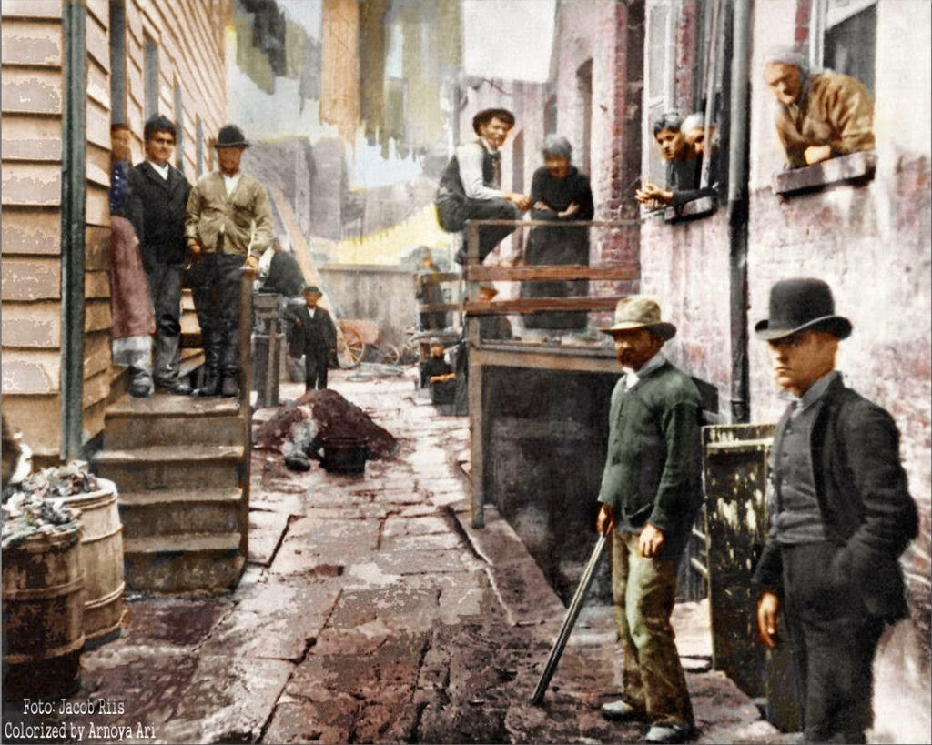 Bandit's Roost, 1890, New York City, color colorization colorized