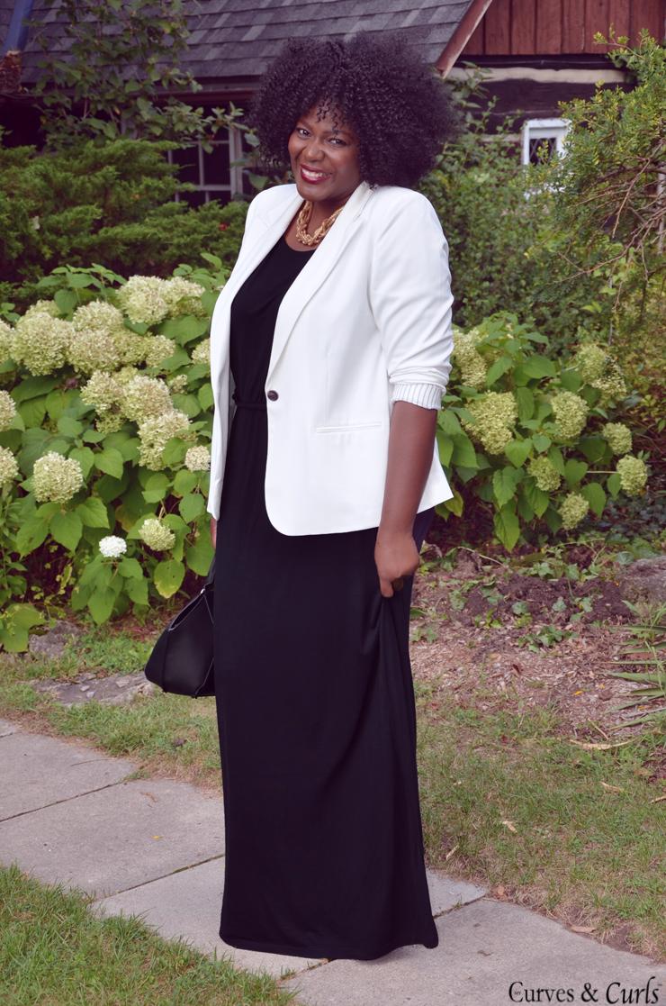White blazer + Black Maxi Dress | My Curves And Curls