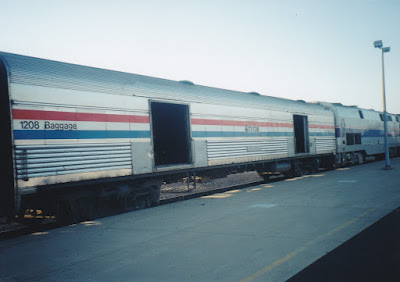 Amtrak Heritage Baggage Car #1208 at Midway Station in St. Paul, Minnesota, on July 25, 1999