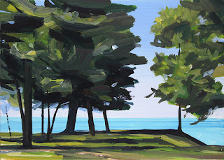 An acrylic painting of trees and Lake Ontario at Krull Park.