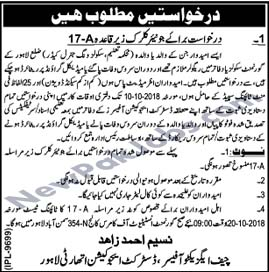 Junior Clerk Jobs in Lahore, District Education Authority Oct 2018