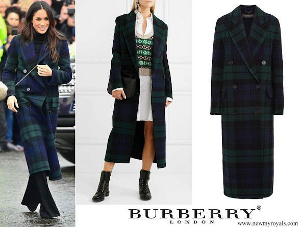 Meghan Markle wore BURBERRY Double breasted tartan wool and cashmere blend coat