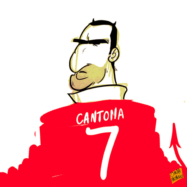 Eric Cantona cartoon caricature