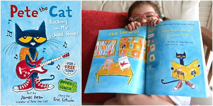 los mejores cuentos y libros infantiles en inglés Pete the cat rocking in my school shoes
