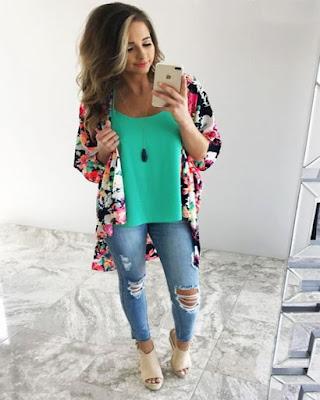 outfits con kimono casual espejo