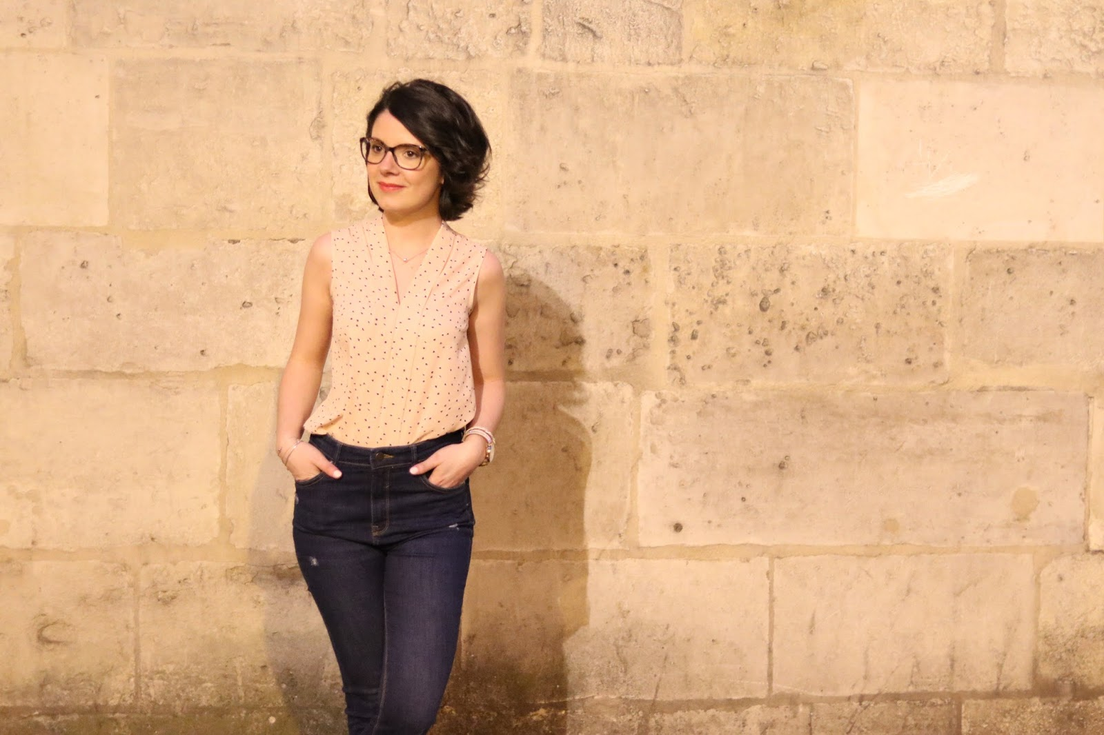 look femme mode paris la nuit rue parisienne zara primark pull&bear jean taille haute rose les gommettes de melo gommette blog
