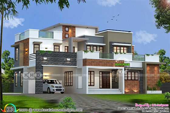 2156 square feet 3 bedroom flat roof box home plan