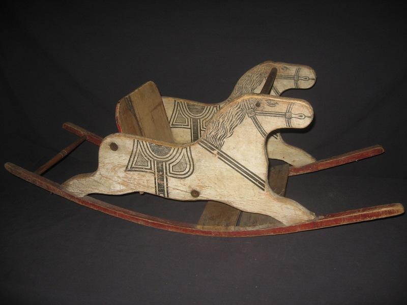 Antique Teddy Bear Crossing Antique Shoofly Rocking Horse