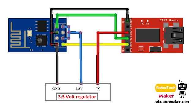 Circuit diagram - PROGRAM ESP8266 with FTDI parallel to serial