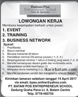 Lowongan Kerja PT. Batam Pos Entrepreneur School