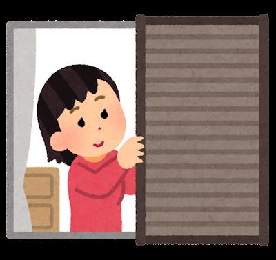 雨戸を開ける人のイラスト