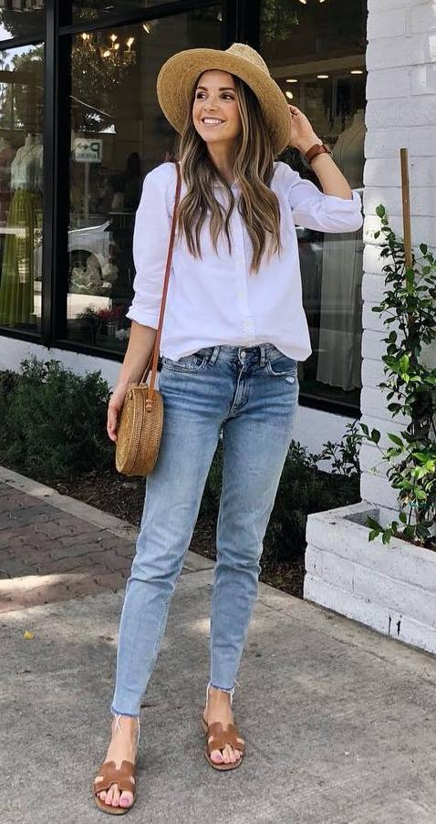 casual style obsession / hat + jeans + shirts + round bag + slides