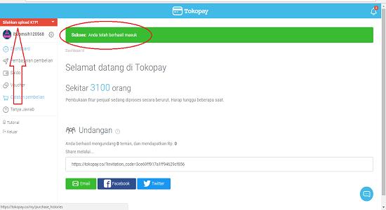 Sukses masuk dan cara upload KTP di Tokopay
