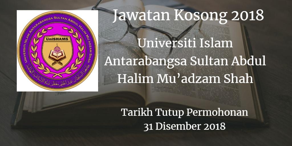 Jawatan Kosong UniSHAMS 31 Disember 2018